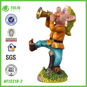 "11.30"" Trumpet Blowing Dwarf Resin Statue (NF13218-2)"