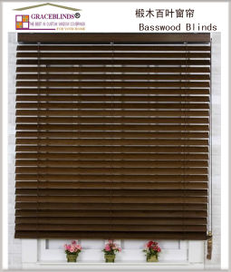UV Coating 50mm Basswood Ladder String Cord Blinds pictures & photos