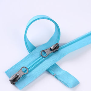 Two Way Open End Nylon Zipper with Pin Lock pictures & photos
