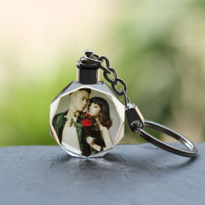 LED Laser Keychain for Brithday Crystal 3D Laser Keychain pictures & photos