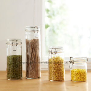 Kitchenware Hot-Sale Glass Cylindrical Seal Tank with Clip Top pictures & photos