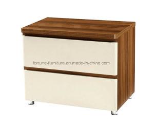 Modern Wooden Walnut & White Nightstand (B1032)