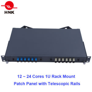 24 Cores 1u Rack Mount Patch Panel with Telescopic Rails pictures & photos
