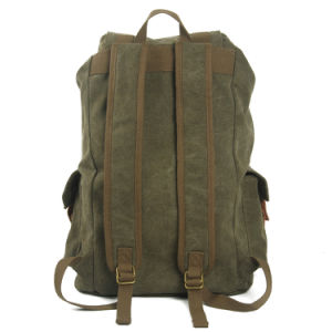 Green Color Washed Canvas School Bag Student Backpack (RS-2080A) pictures & photos