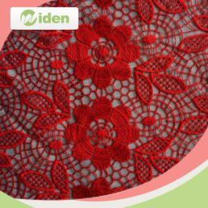 Red and Black Color Net Lace Embroidery Curtain Lace Fabric pictures & photos