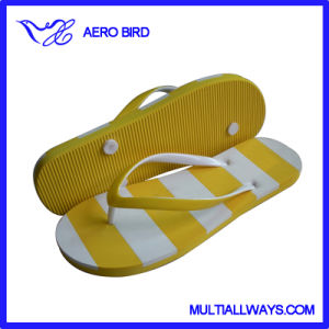 Cute Girl PE Sandal Slipper with Double Color Straps pictures & photos