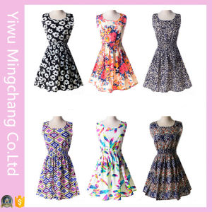 Wholesale Cheap Girl′s Printed Chiffon Sleeveless Vest Dress pictures & photos
