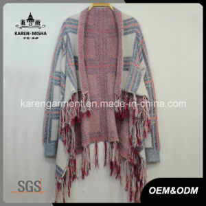 Plaid Pattern Tassels Knitted Waterfall Cardigan Women Coat pictures & photos