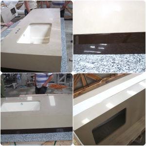 Artificial White Beige Brown Quartz Stone Vanity Top pictures & photos