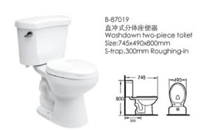 Bathroom Furniture Washdown Two-Pieces Toilet (87019) pictures & photos
