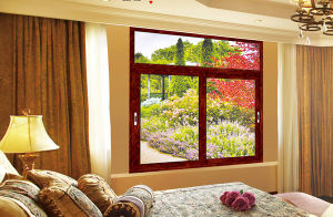 Wood Grain Surface Treatment Aluminium Frame Hinged Windows