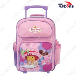 Pink Girls Trolley Wheels Backpack School Bags with Bottle Pocket pictures & photos