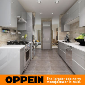 Modern Glossy Grey Wooden Acrylic Wholesale Modular Kitchen Cabinet (OP16-A01) pictures & photos