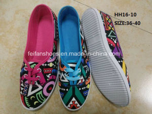 Latest Cheap Lady Casual Shoes Injection Sports Canvas Shoes (HH16-10) pictures & photos