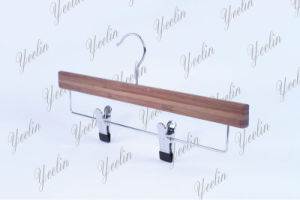 Standard Pants Bamboo Hanger Ylbm33512-Chrb1 for Supermarket, Wholesaler with Shiny Chrome Hook pictures & photos