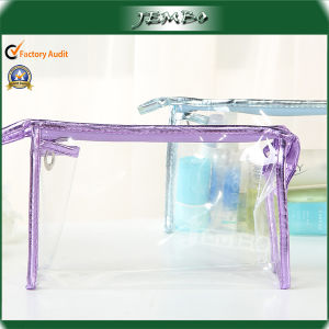 OEM Single Open Zipper Purple Cosmetic Plastic Bag pictures & photos