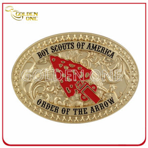 Customized Embossed Design Matt Gold Plated Metal Belt Buckle pictures & photos