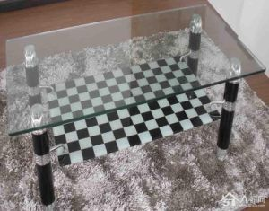 10mm Black and White Square Printing Toughened Glass as Table Top