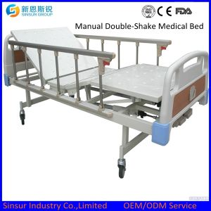China Factory Aluminum Alloy Guardrail Manual Double Shake Hospital Beds pictures & photos