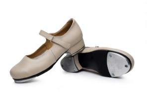 Unisex Soft Cow Leather Cream/Beige Tap Shoes for Both Men and Women pictures & photos
