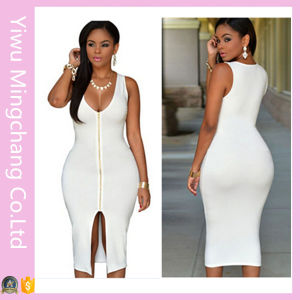 2016 Latest Wholesale Zipper Front Woman Sexy Plain Bodycon Dress pictures & photos