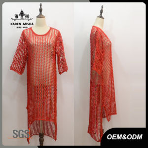 Women Red Half Sleeve Hi-Lo Hem Dress pictures & photos