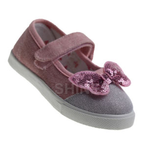 Girl′s Canvas Injection Shoe with Sequin Butter