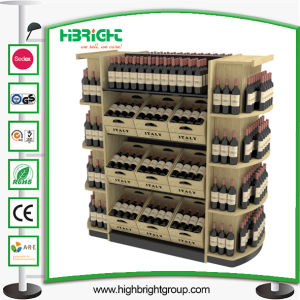 Custom Supermarket Wooden Red Wine Bottle Display Rack pictures & photos