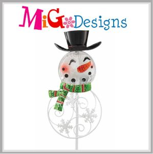 New Promotion Snowman Metal and Glass Christmas Garden Stake pictures & photos