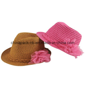 Child Paper Straw Fedora Hats with Flower (CPA_60223) pictures & photos