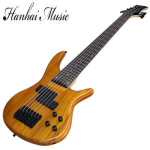 Hanhai Yellow 7 Strings Electric Bass Guitar with Elm Body pictures & photos