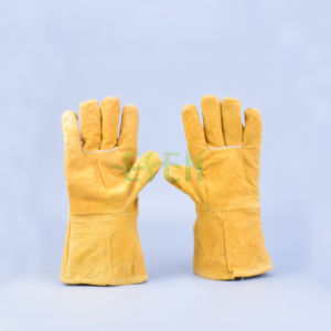 12 Inch Full Palm Cow Split Leather Working Gloves for Wholesale /Industrial Leather Gloves / Leather Welding pictures & photos