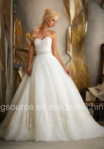 Empire Sweep Train Embroidary Princess Bridal Gown Tulle Wedding Dress pictures & photos