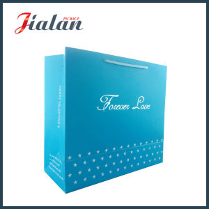 Blue Pantone Color Customize Printed Silver Hot Stamping Paper Bag pictures & photos