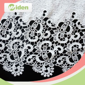 Bulk Lace Fabric Milky Polyester Lovely Flower Chemical Lace Fabric pictures & photos