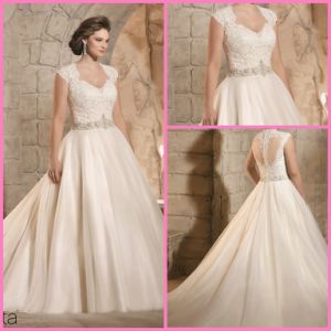 Cap Sleeves Bridal Gown Beads Plus Size Lace Tulle Wedding Dress Jut3185 pictures & photos