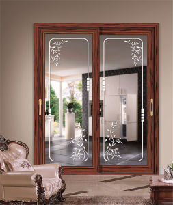Wood Grain Finish Aluminum Color Option Sliding Door pictures & photos