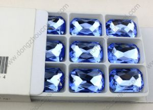 Pujiang China Wholesale Octagon Fancy Stones Rhinestones Low Lead 13*18mm Capri Blue Loose Beads for Jewelry Making pictures & photos