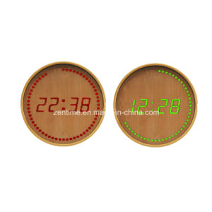 Electric Circle LED Digital Wooden Time Clock pictures & photos