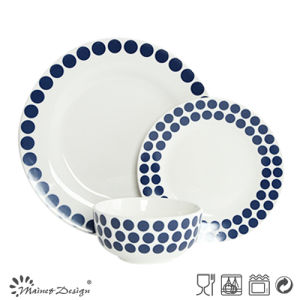 18PCS Ceramic Dinner Set with Blue Dots Decal Design pictures & photos