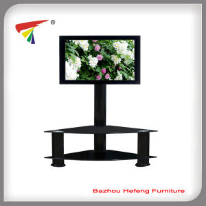 Tempered Glass TV Stand with Aluminum Tubes (TV064) pictures & photos
