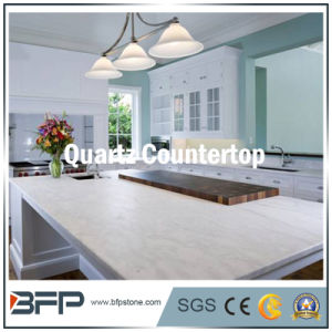 Artificial Stone White Quartz for Kitchen Countertop with Polished Surface pictures & photos