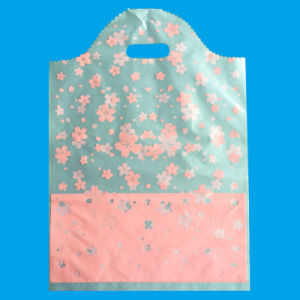 Wave Top Plastic Handle Bag with Artwork Printing