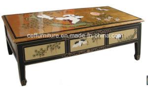 Lacquer Oriental Asia Crane Pine Landscape Gold Cofffee Table