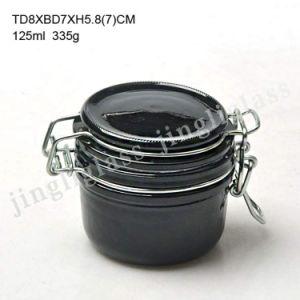 Matte Black Clip Cap Glass Jar 125ml pictures & photos