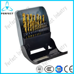 19 Piece 1-10mm Tin Coated HSS Twist Drill Bit Set pictures & photos