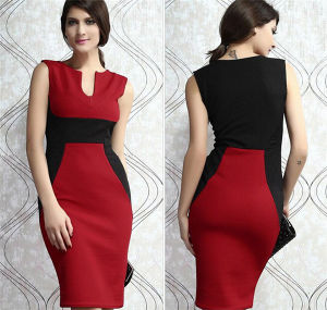 Hot Sale U Neck Contrast Color Slim Sleeveless Office Pencil Dress pictures & photos