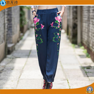 OEM Women Fashion Embroidery Pants Cotton Casual Pants