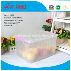 515*370*285 Plastic Storage Bin with Interlock Lid Clear pictures & photos