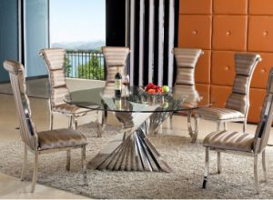 Newest Launched Glass Round Dining Table Set with Chair (SDT-014)